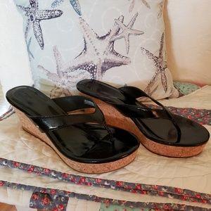 Ugg sandals black cork NWOT